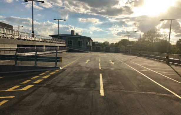 asphalt screeding car park
