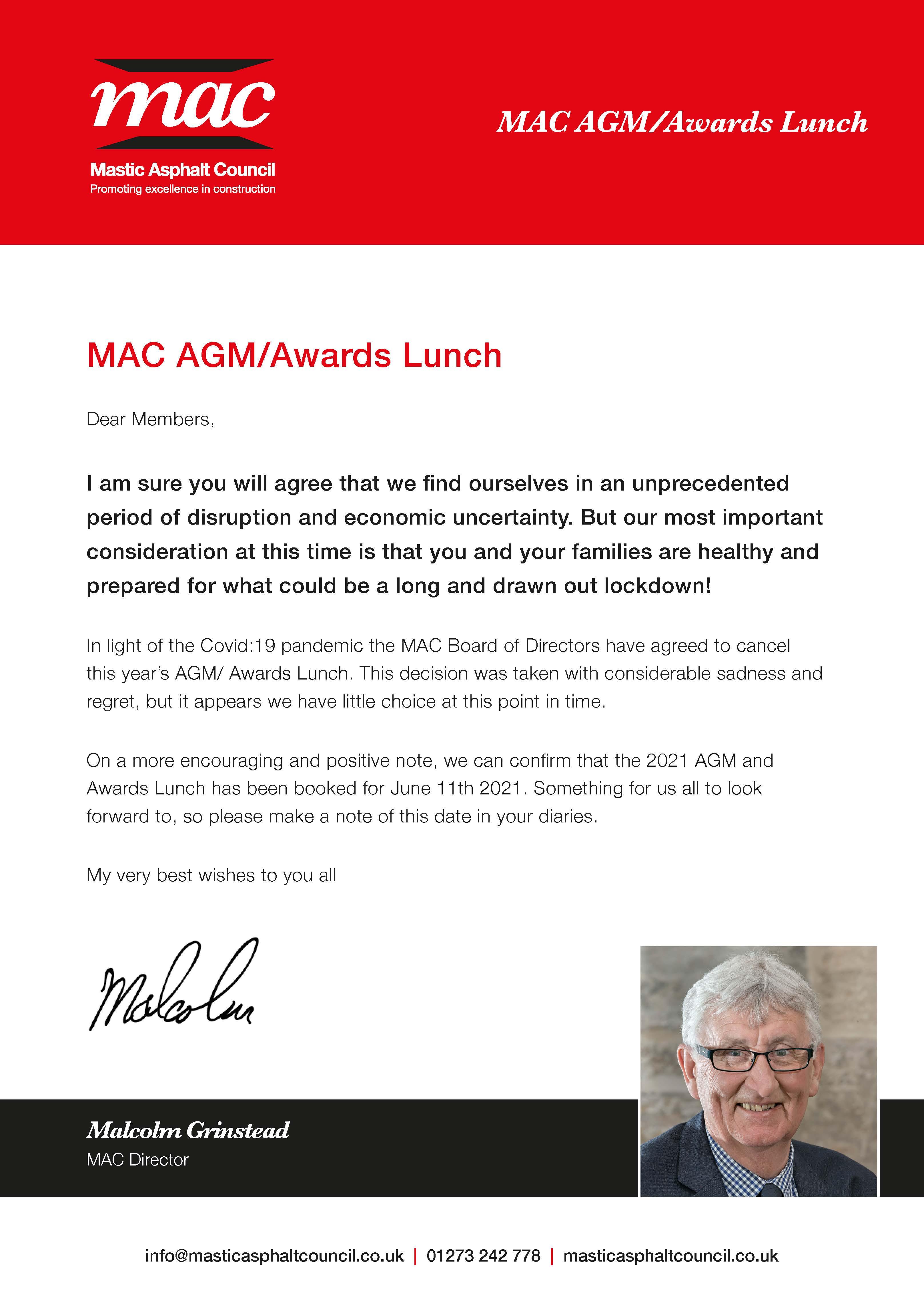 MAC AGM Awards announcement